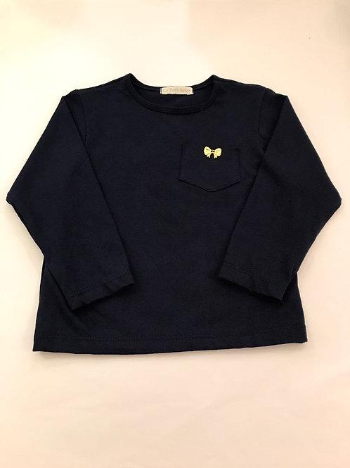 Camiseta manga longa marinho com laço dourado
