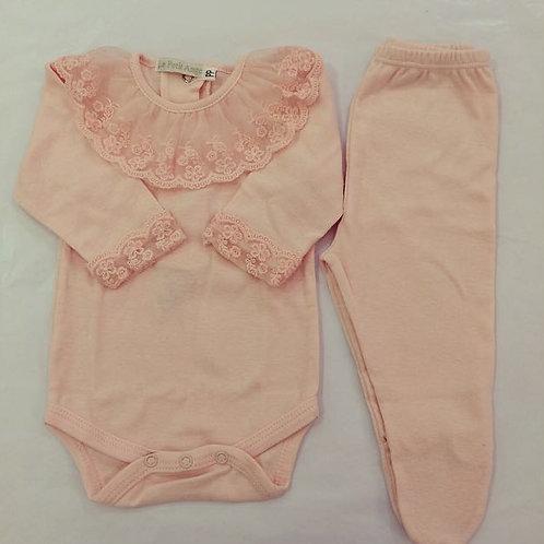 Body e culote renda rosa