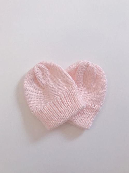 Luva tricot baby rosa