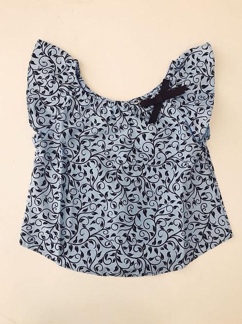 Blusa lacinho floral azul e marrom