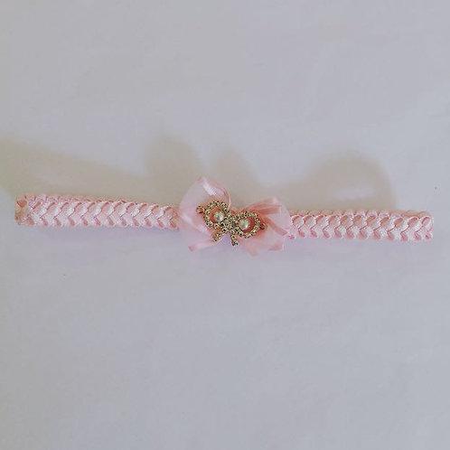 Faixa trança Laço strass rosa