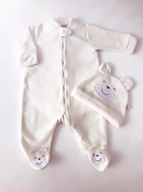 Macacão soft com touca urso marfim