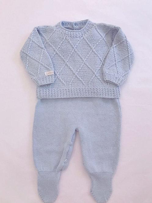 Conjunto salopete de tricot losango azul bebê