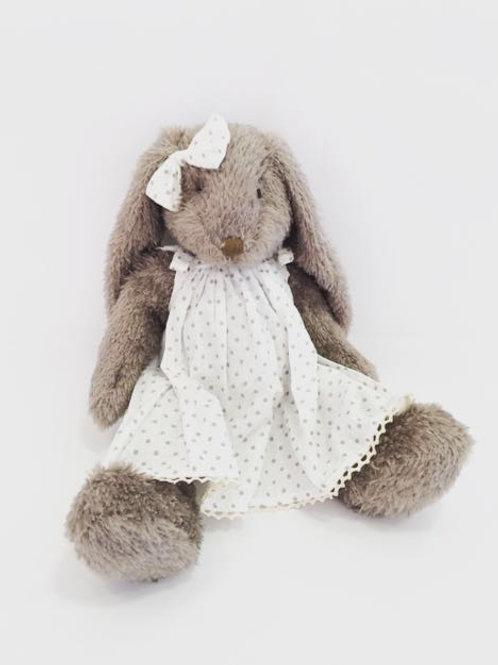 Coelha cinza G vestido poá