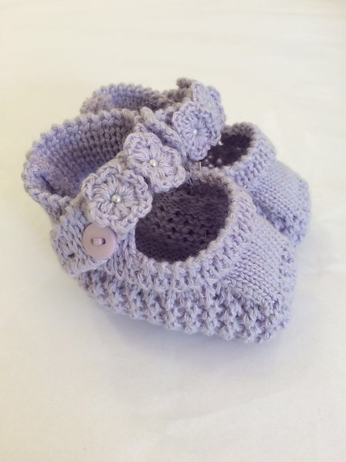 Sapatinho de tricot lilás