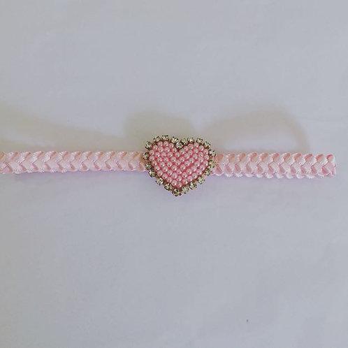 Faixa trança coração  pérolas e strass rosa