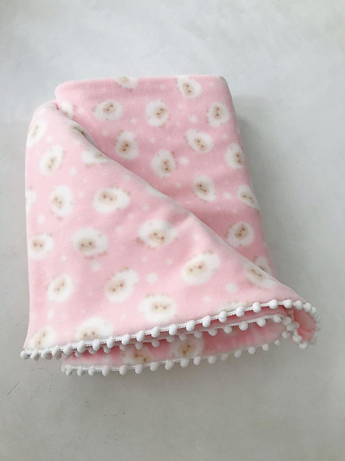 Manta soft rosa ovelhas