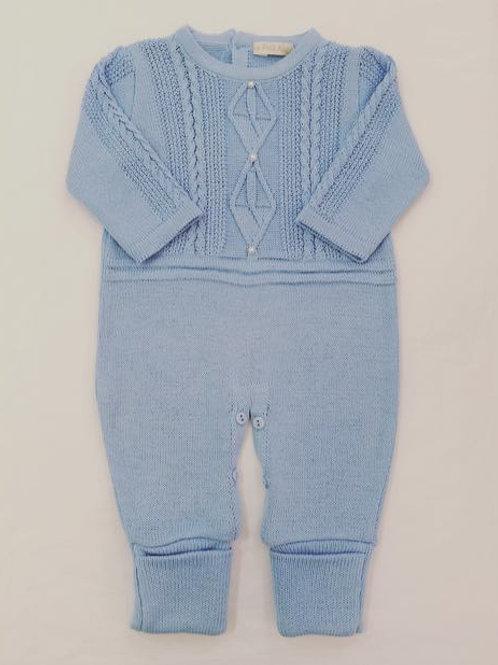 Macacão de tricot trança azul bebê