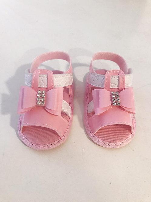 Sandália laço rosa e branca