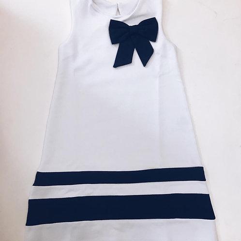 Vestido Náutico branco laço