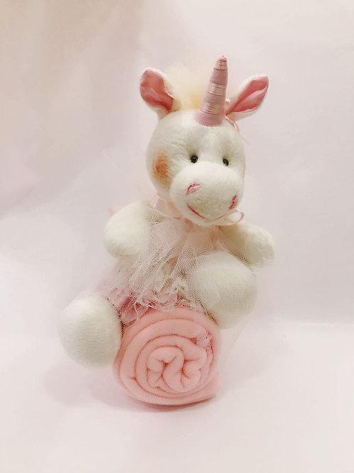 Unicórnio com manta soft rosa