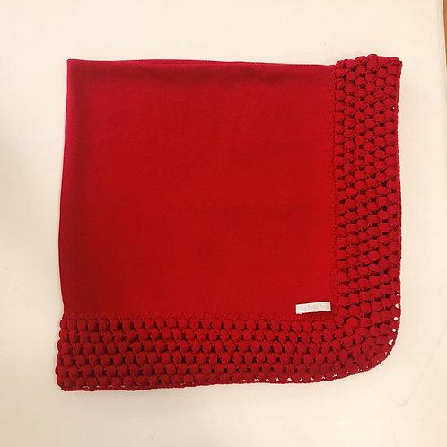 Manta lisa crochê vermelha.