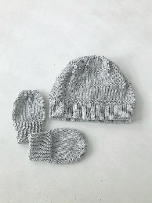 Kit baby touca e luvas tricot cinza