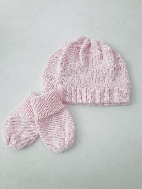 Kit baby touca e luvas tricot rosa bebê