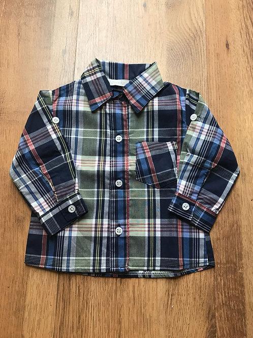 Camisa xadrez marinho e verde