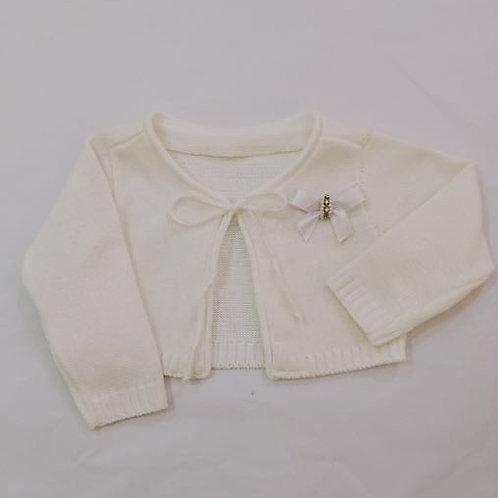 Casaco bolero de linha branco laço