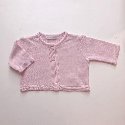 Casaco de tricot liso rosa