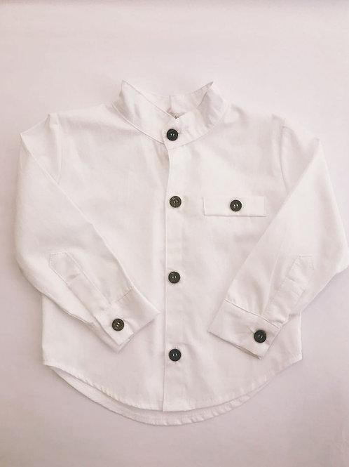 Camisa branca gola padre