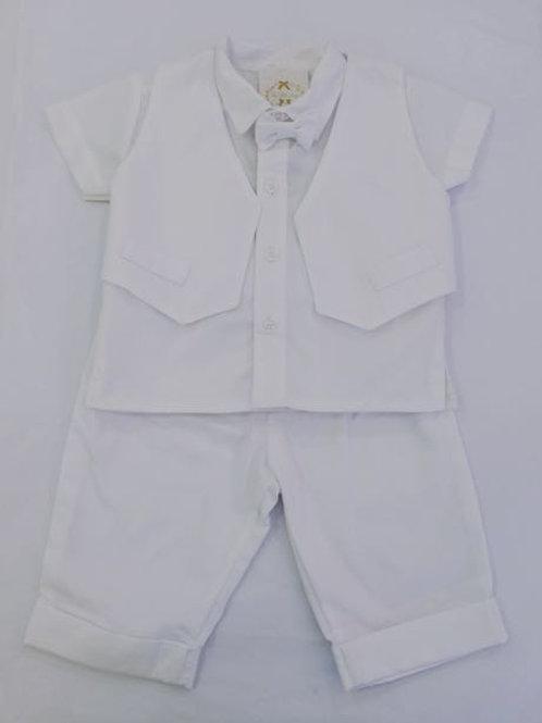 Conjunto colete gravata borboleta manga curta