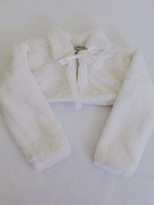Bolero branco de pele