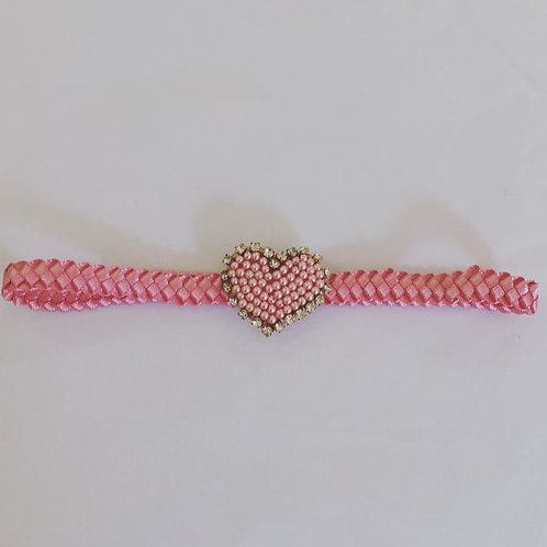 Faixa trança coração pérolas e strass pink