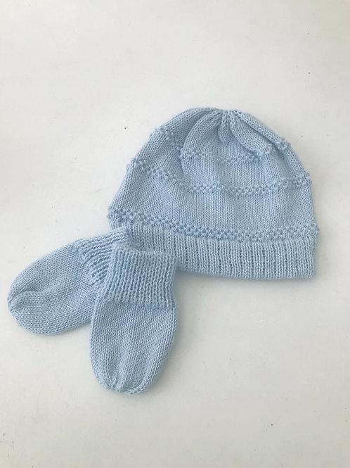 Kit baby touca e luvas tricot azul bebê