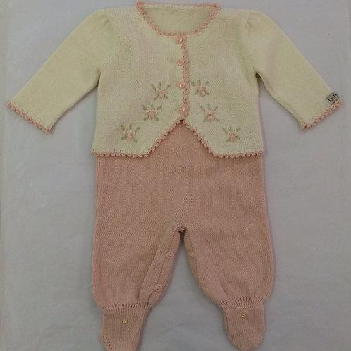 Conj fleur rosa Bebê e marfim