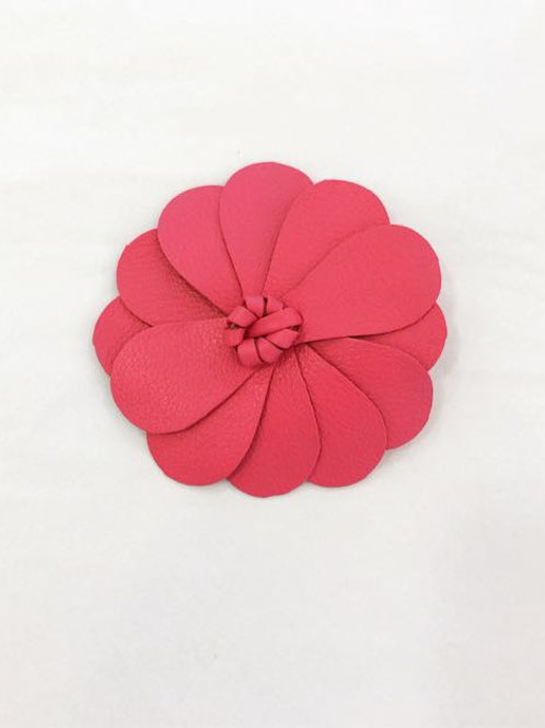 Presilha Flor em couro pink