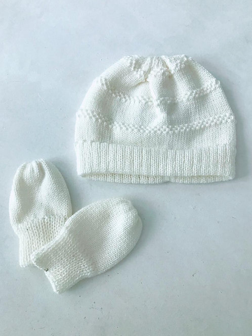 Kit baby touca e luvas tricot off white