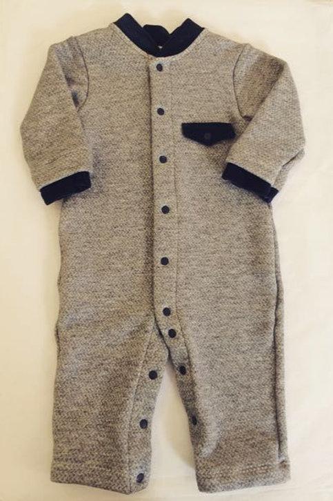 Pijama Macacão mescla e marinho