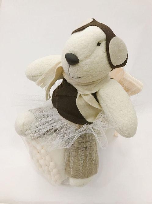 Urso aviador com manta soft marfim