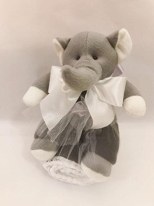 Elefante com manta soft cinza