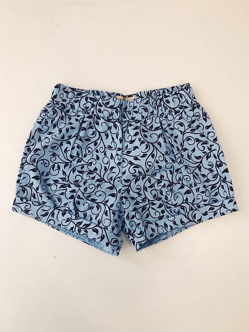 Shorts azul e marrom botões