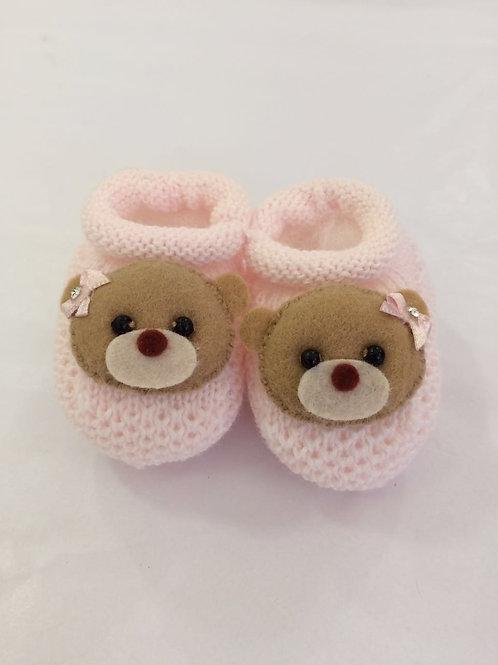 Sapatinho de tricot ursa rosa