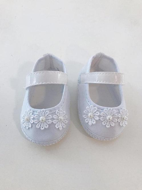 Sapato flor margaridas branco