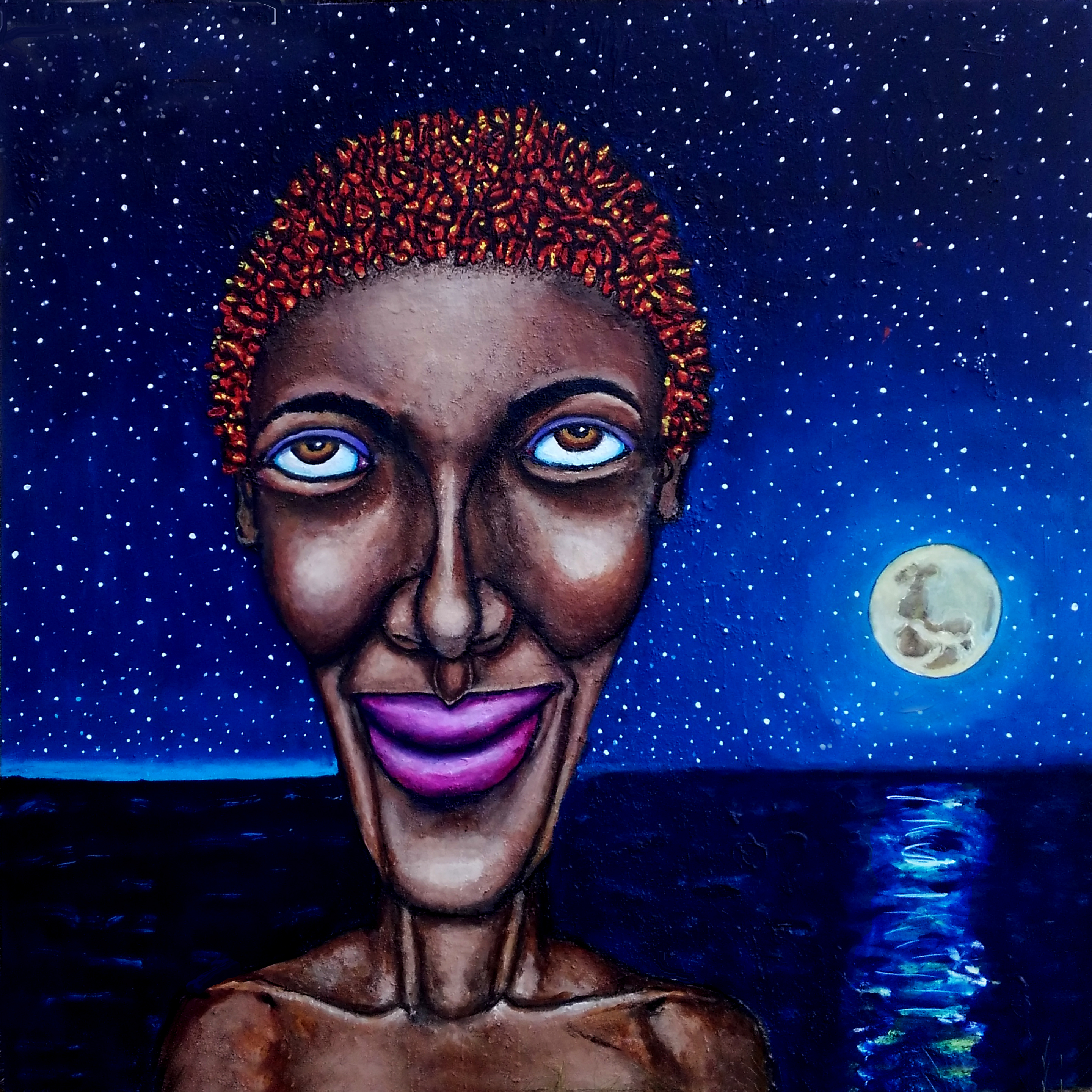 Woman in moonlight
