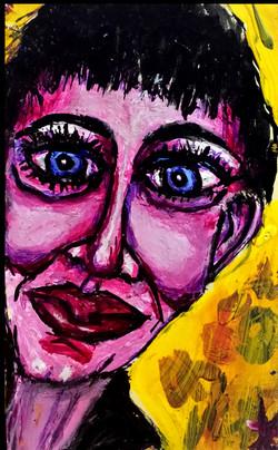 woman on yellow stick-it