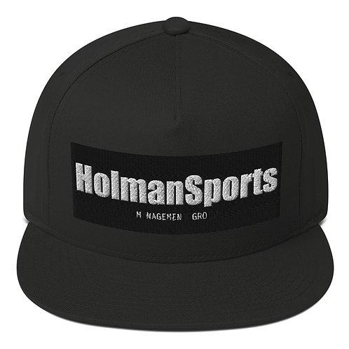 Holman Sports - Black Flat Bill Snapback Cap