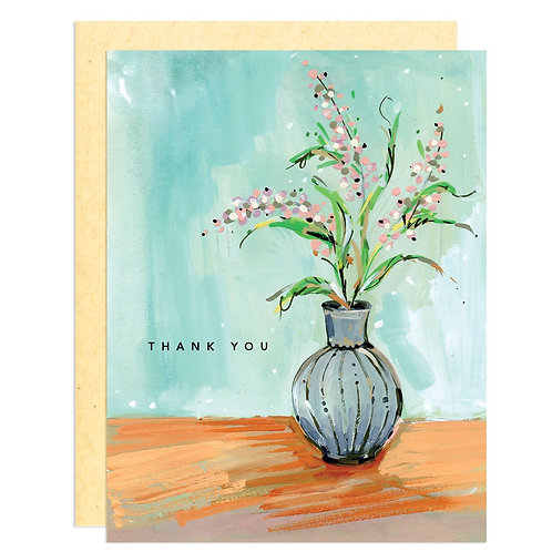 Thank You with Pink Flowers