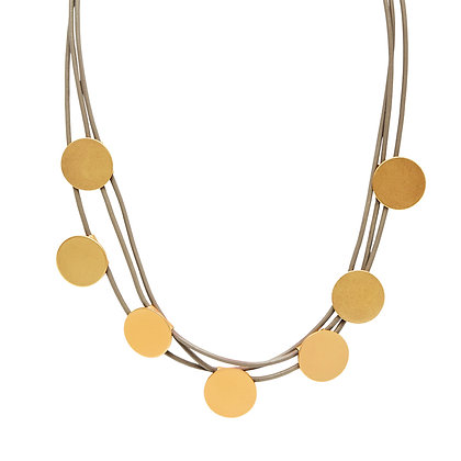 Dansk Copenhagen Tracey Dot Gold Disc & Leather Necklace