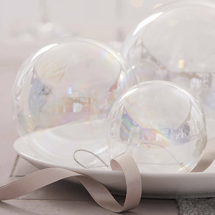 Soap Bubble Iridescent Clear Glass Christmas Bauble - 3 Sizes - Gisela Graham