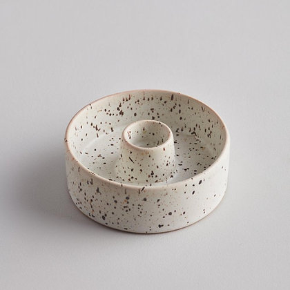 Ceramic Speckled Grey & White Candle Stick - St Eval