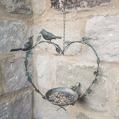 Brass hanging heart bird feeder - Ascalon