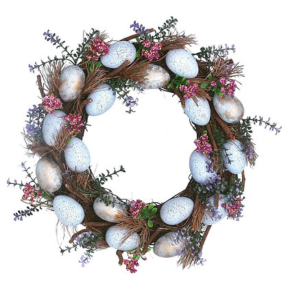 Blue Speckled Eggs & Flower Wreath - Gisela Graham