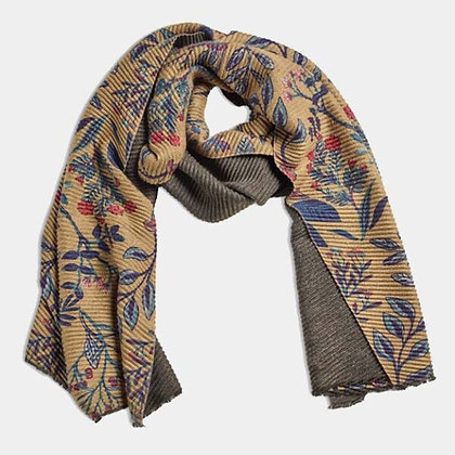 Large Pleated Floral Scarf - Mustard - Quintessential Cambridge
