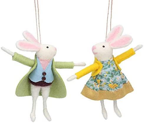 Mixed Wool Mr & Mrs Bunny Decorations - Gisela Graham