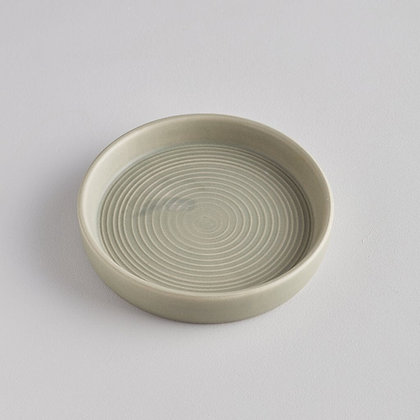 Small Ceramic Candle Plate - Light Grey Green - St Eval