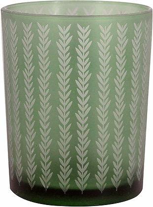 Dark Green Etched Chevron Glass Tea Light Holder - Gisela Graham