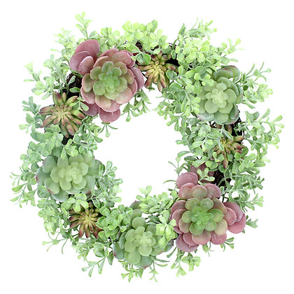 Mixed Artificial Green/Pink Succulents Spring Summer Wreath - Gisela Graham