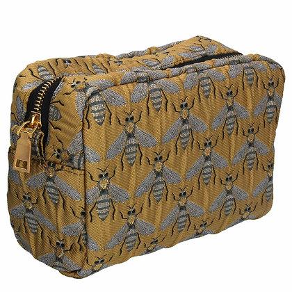 Bumble Bee Gold Jacquard Cosmetic Bag - Gisela Graham